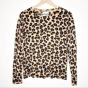 Cynthia Rowley 100% Cashmere Leopard Print Sweater